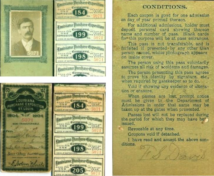 Storia dell'hamburger: Pass di accesso alla fiera di Flatcher Davis, con la sua firma.